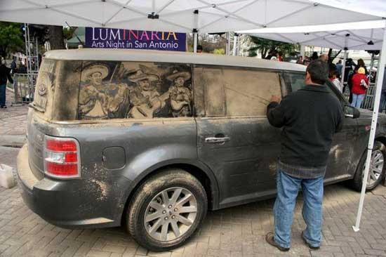 نقاشی روی ماشین کثیف (3)
