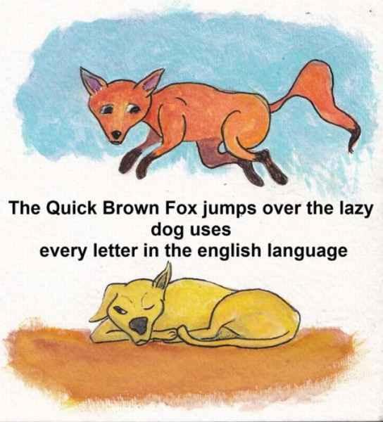 The quick brown fox jumps over the lazy dog روباه قهوه ای چابک از زوی سگ تنبل پرید در اکثر نامه های انگلیسی استفاده می شود