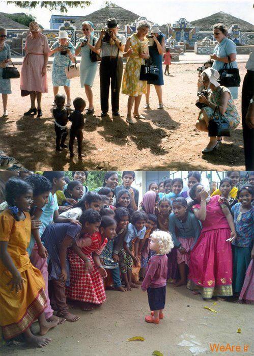 عکس از کودک سیاه و سفید و تعجب مردم