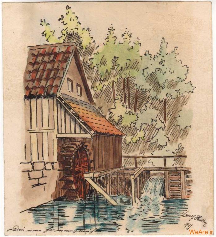 نقاشی سیاه قلم از یک پل