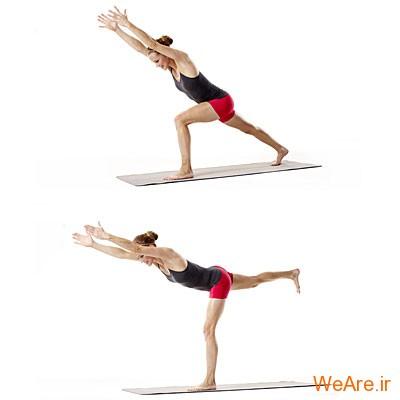 پاها و باسن: لانژ همراه با بالا بردن پا از پشت