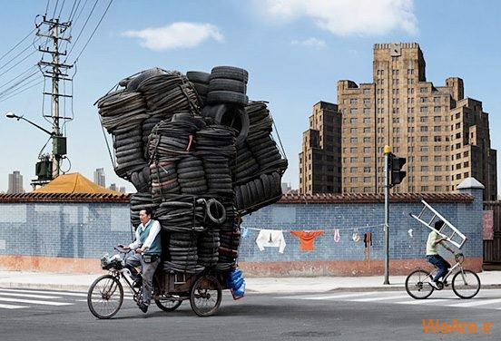 تصاویر خلاقانه، دوچرخه و لاستیک