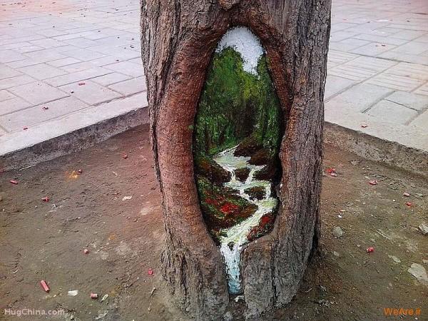 نقاشی روی درخت (2)