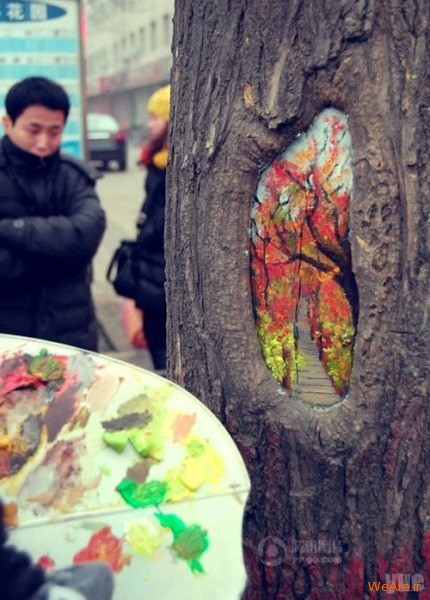 نقاشی روی درخت (5)