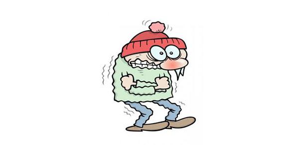 مرد کارتونی لرزش از سرما