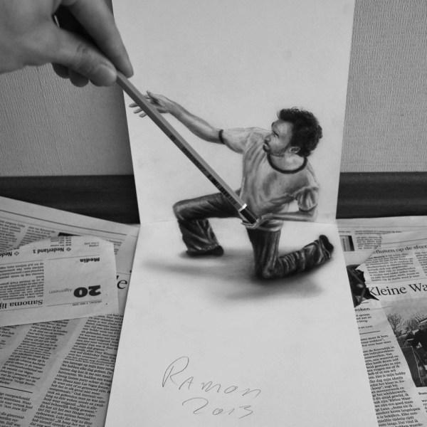 Optical-Illusion-3D-Drawings-on-Paper-by-Ramon-Bruin-aka-JJKAirbrush-45-weare.ir