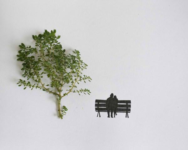 خلق اثری هنری با برگ