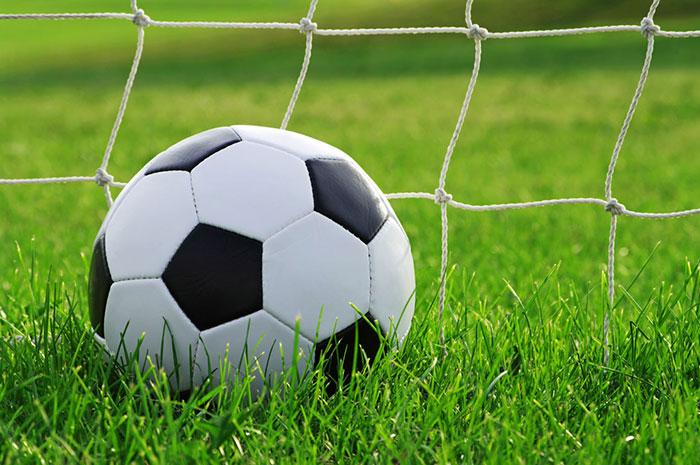 توپ فوتبال در زمین چمن