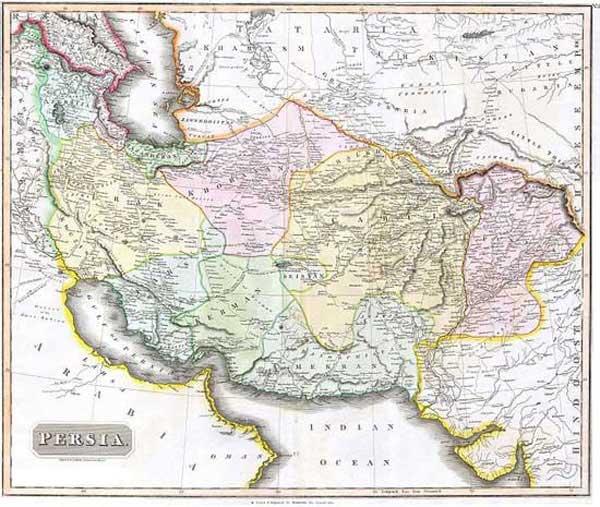 آخرین نقشه بین المللی ایران پیش از جدا شدن سرزمینهای تاریخی آن