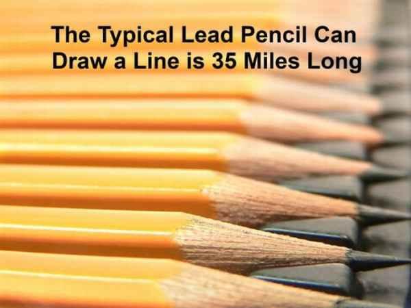 با یک مداد می توان خطی به طول 35 مایل (56.3 کیلومتر) کشید