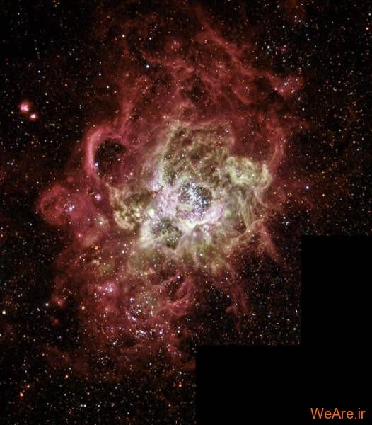 انفجار و آتش ناشی از تولد ستاره ای در کهکشان