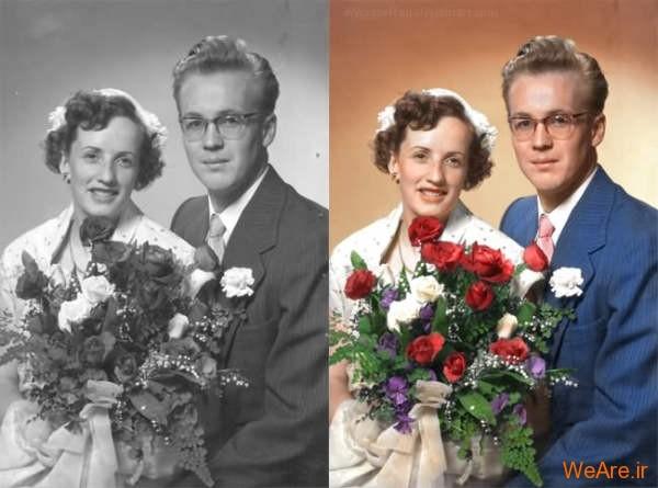 تصویر سیاه سفید رنگی شده ازدواج