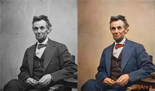 تصویر سیاه سفید رنگی شده آبراهام لینکلن