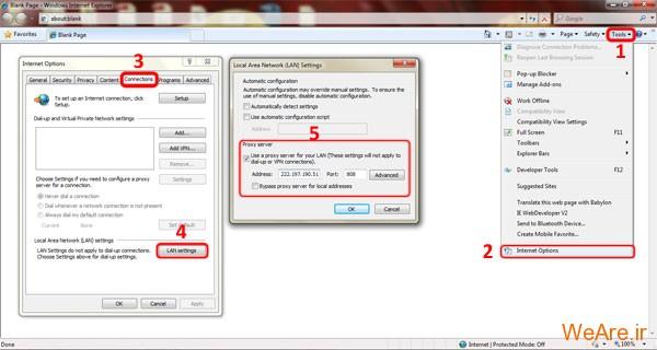 تنظیم ip و port در مرورگر اینترنت اکسپلورر (Internet Explorer)