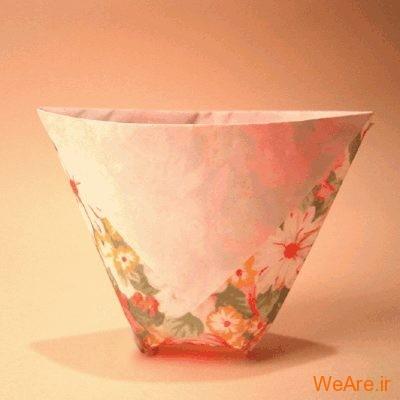 یک فنجان واقعی بسازید / اوریگامی ساخت فنجان