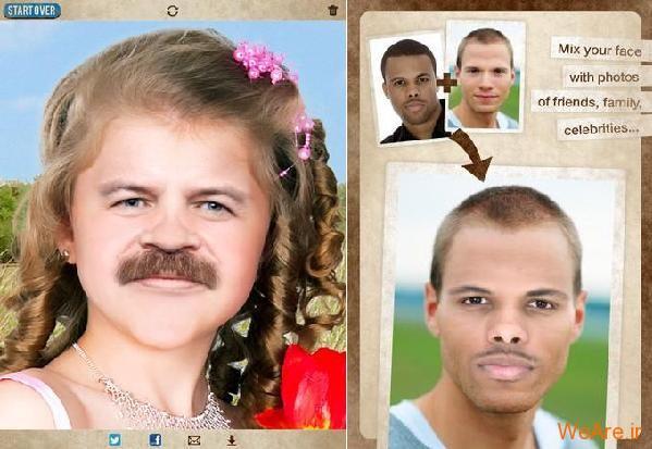 دانلود نرم افزار فوق العاده جالب و خنده دار ترکیب چهره افراد برای آندروید MixBooth 1.1
