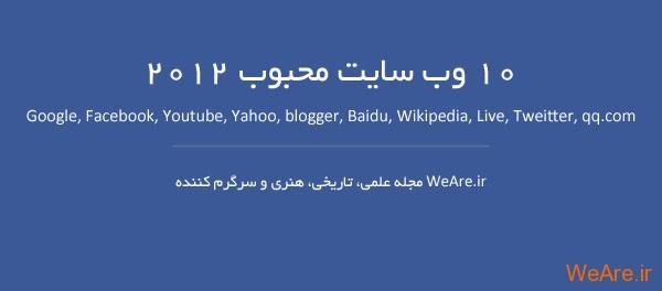 ۱۰ وب سایت محبوب ۲۰۱۲