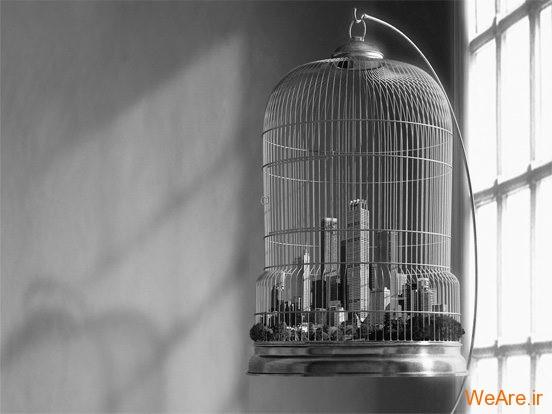 تصاویر خلاقانه، شهر در قفس