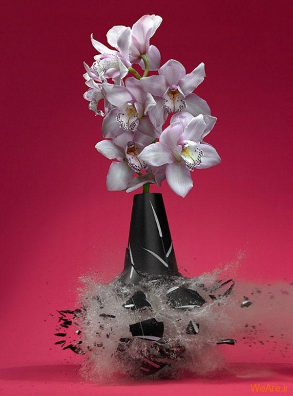 عکس  سرعت بالا از شکست گلدان (3)