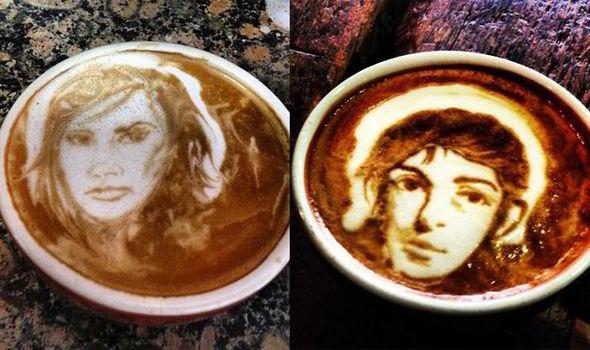پرتره های مشهور در کف قهوه