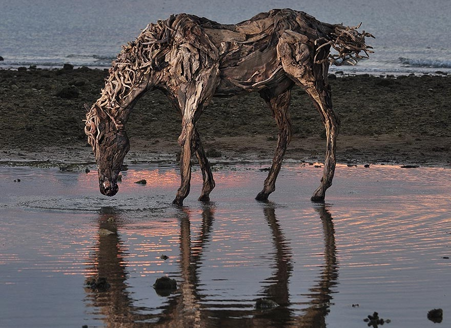 پیکره های چوبی شگرف از اسب