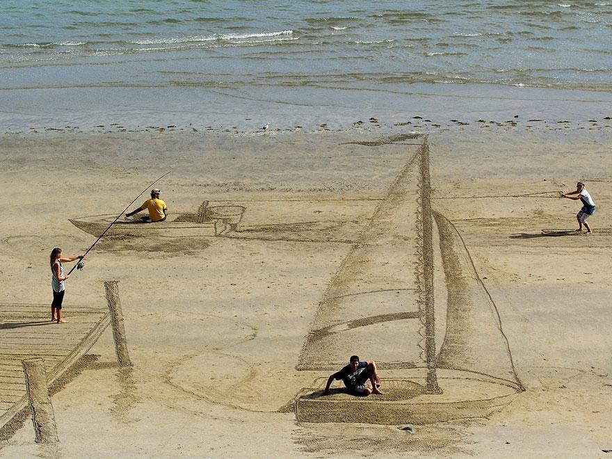 هنر سه بعدی در کنار ساحل