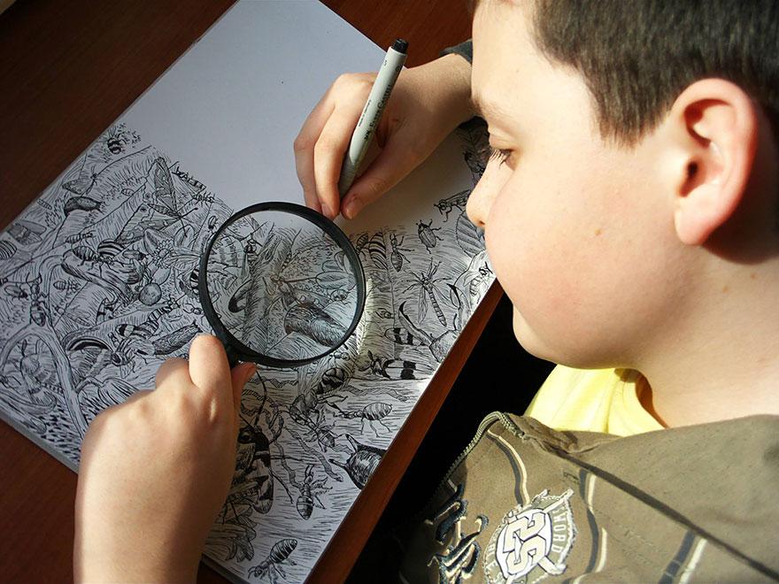طراحی تفصیلی سرشار از زندگی اثراعجاب انگیز کودک۱۱ ساله
