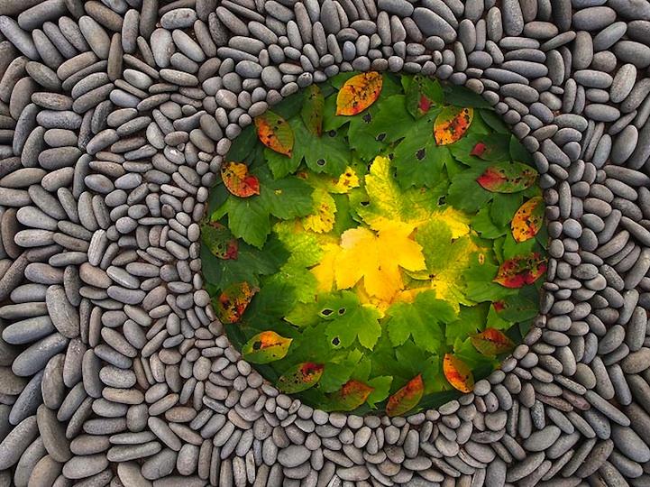 هنر هندسی زمینی از ترکیب سنگ و برگ