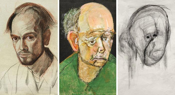 تصاویری از پرتره های شخصی هنرمند آلزایمری در یک دوره  ۵ ساله