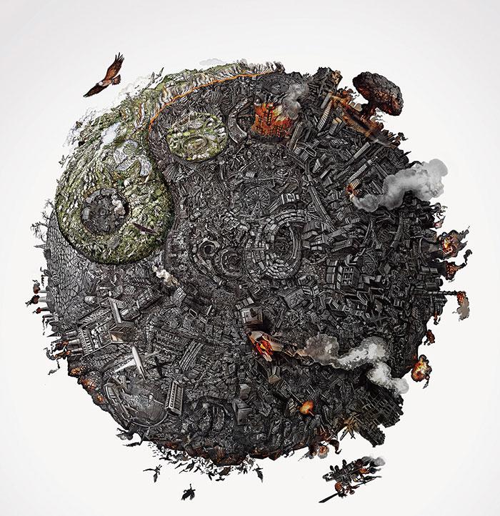 نقاشی های باور نکردنی از آسیب های وارد شده به زمین
