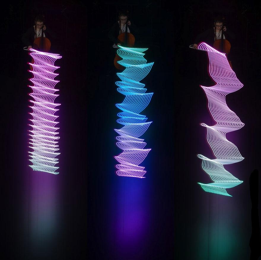 ثبت حرکت نوازندگان با لامپ های LED
