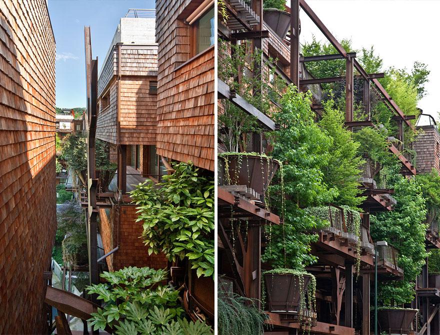خانه درختی شهری با ۱۵۰ درخت برای جلوگیری از آلودگی و سر و صدا