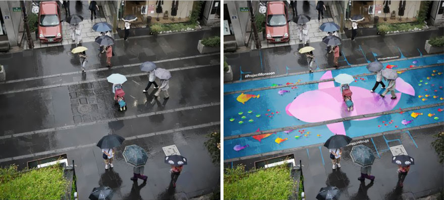 تکنولوژی خیابان رنگارنگ در روزهای بارانی