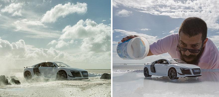 ترفند دیدنی یک عکاس برای عکس برداری از خودرو شرکت آئودی
