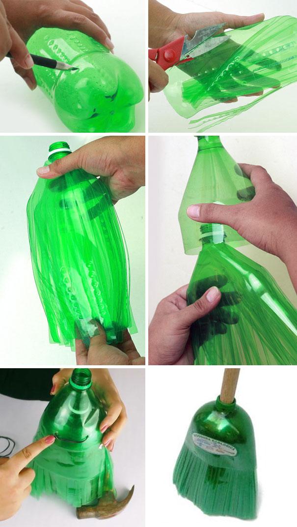 شیشه های نوشابه را به جارو تبدیل کنید