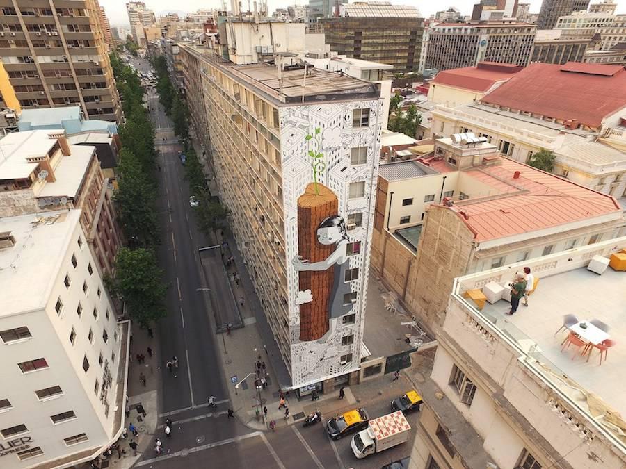 نقاشی دیواری زیست محیطی خلاقانه در شیلی