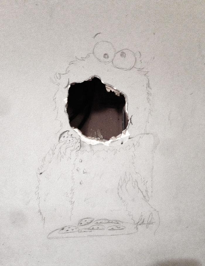 ماست مالی دیوار خراب شده با یک نقاشی ساده