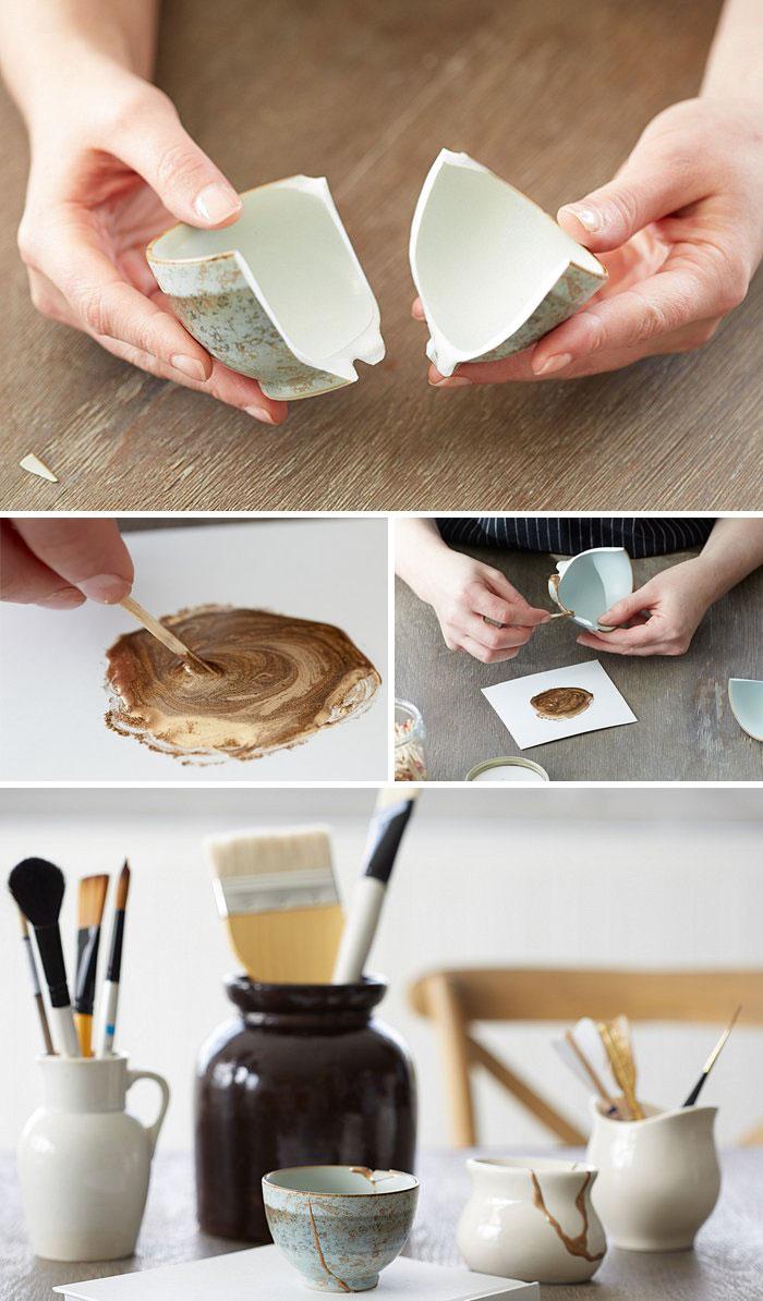 خلاقیت در تعمیر ظروف سرامیکی شکسته