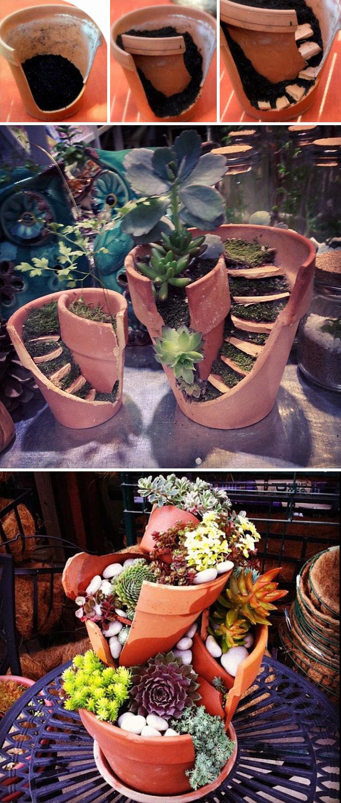 تبدیل هنرمندانه یک گلدان شکسته به باغچه