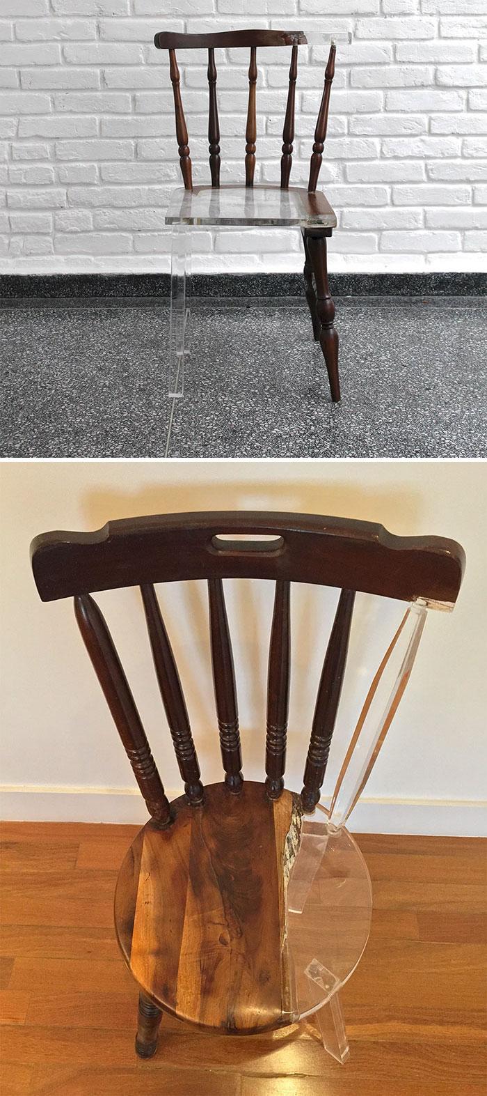 خلاقیت در تعمیر صندلی شکسته