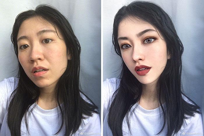 تصویر زن با فوتوشاپ و بدون فوتوشاپ