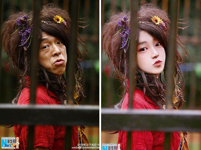 عکس زن چینی با فوتوشاپ و بدون فوتوشاپ