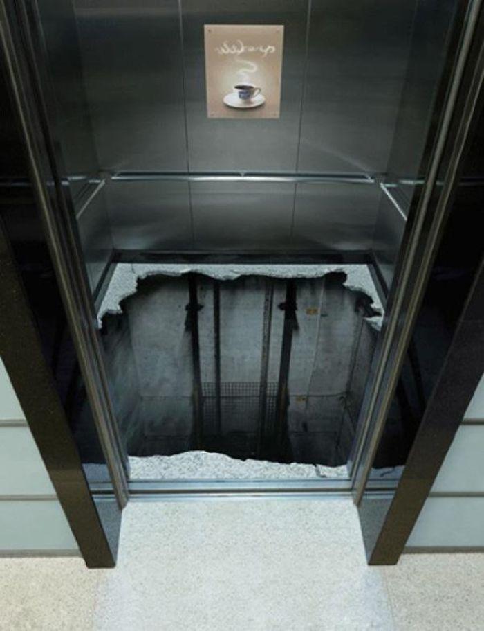 نقاشی سه بعدی ترسناک کف آسانسور