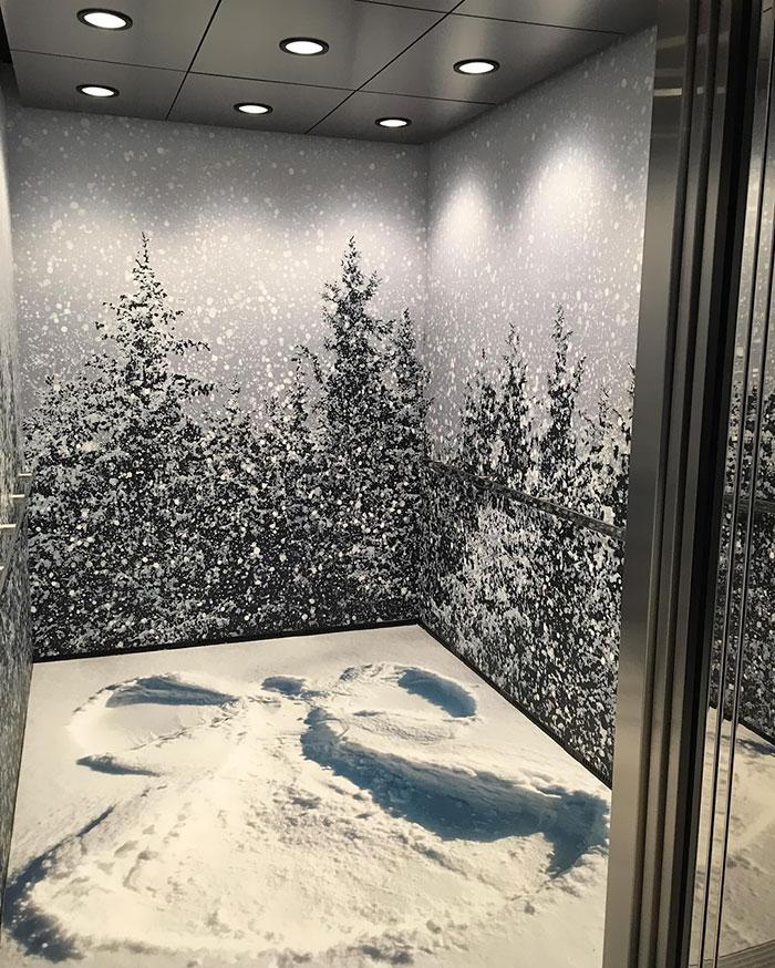 طراحی فوق العاده زمستان در آسانسور. زمشتون سوار شی، پاییز پیاده شی
