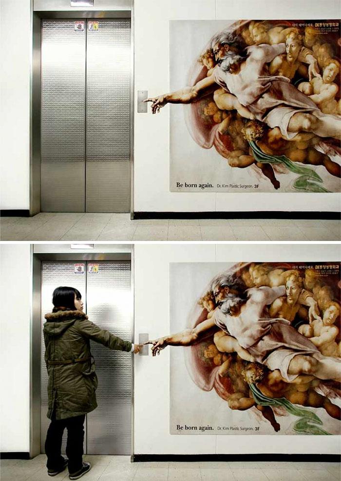 پوستر خلاقانه درب آسانسور