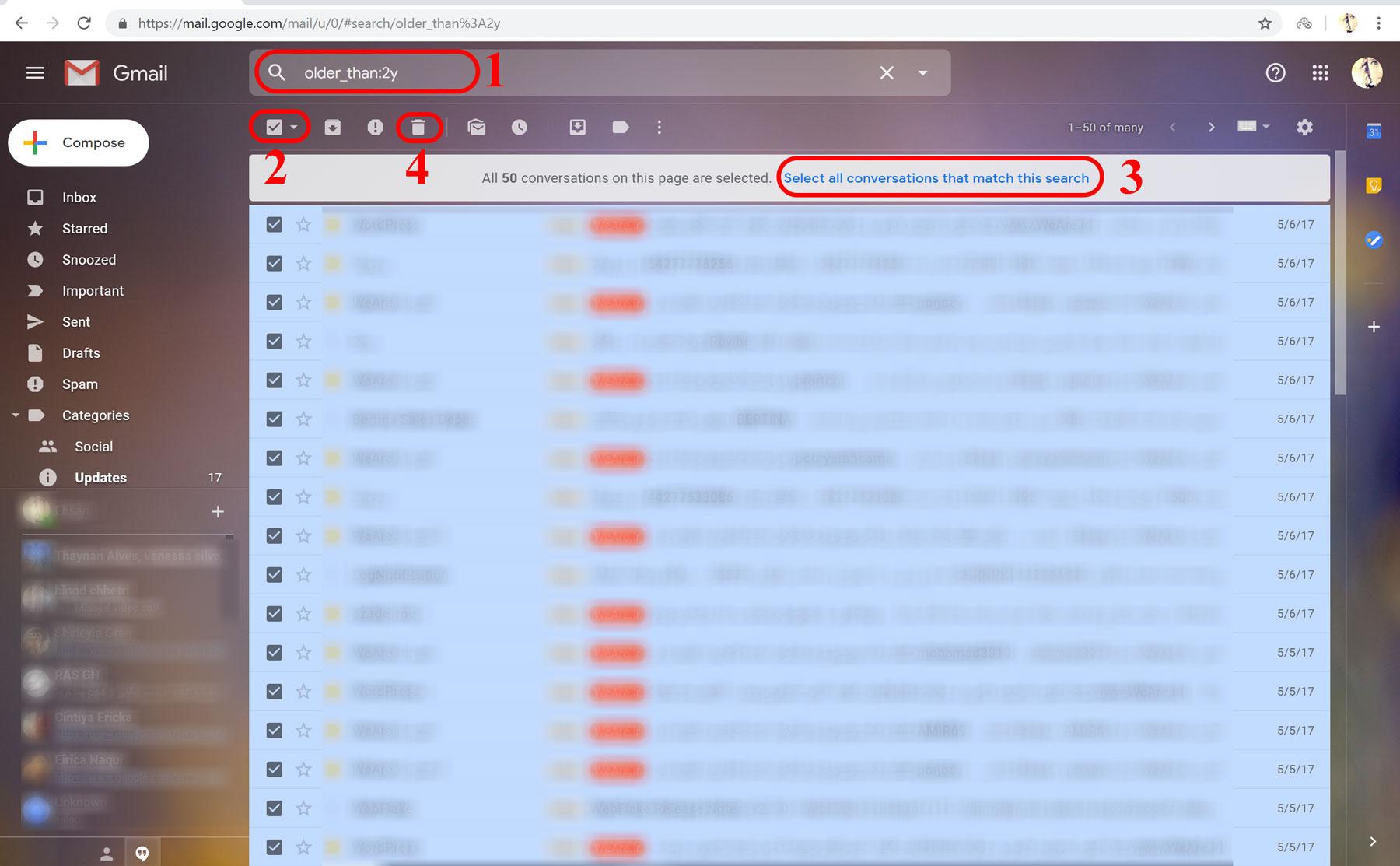 حذف ایمیل های قدیمی در جیمیل